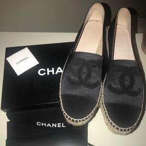 Chanel Espadrilles Black Satin Canvas Size 41